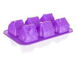 BANQUET Forma silikonová Violet 29,5x17,5x6 cm, domečky