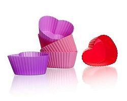 BANQUET Sada silikonových košíčků 6,5 cm, 6ks, mix barev, srdíčka