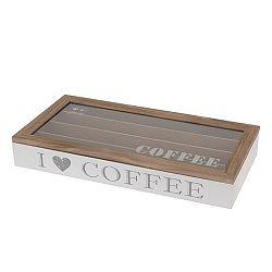 Box dřevěný s plastovým víkem na kapsle COFFE