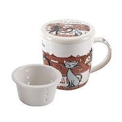Home Elements porcelánový hrnek Kočky ve městě se sítkem a víkem 390 ml