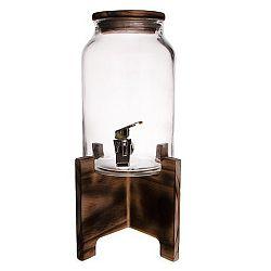 Láhev sklo 4,2 l+kohoutek+stojan dřevo