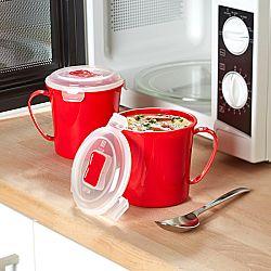 Magnet 3Pagen 2 hrnky na polévku do mikrovlnky, červená