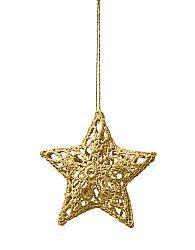 Magnet 3Pagen Háčkovaná hvězda zlatá 11cm
