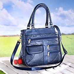 Magnet 3Pagen Patchworková kabelka, bílá modrá