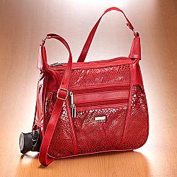 Magnet 3Pagen Patchworková kabelka s motivem hadí kůže červená
