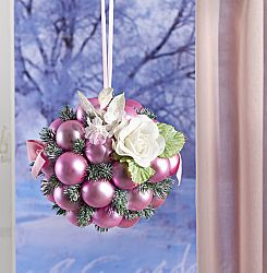 Magnet 3Pagen Vánoční ozdoba s koulemi růžová