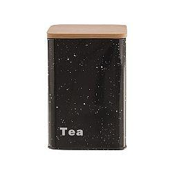 Orion Plechová dóza s dřevěným víčkem tea mramor 9,5x9,5x14 cm