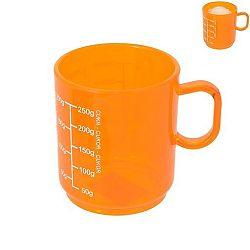 Plastový hrnek s odměrkou - 0,25 L oranžový