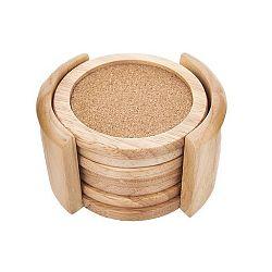 Podtácek gumovníkové dřevo/korek pr. 9,5 cm+stojan